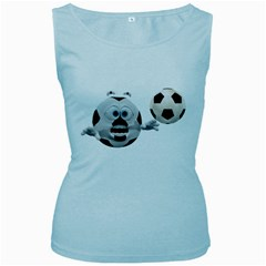 Soccer Smiley Womens  Tank Top (Baby Blue)