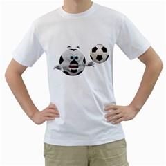 Soccer Smiley Mens  T-shirt (White)