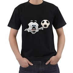 Soccer Smiley Mens' Two Sided T Shirt (black)