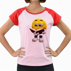 Book Smiley Women s Cap Sleeve T-Shirt (Colored)
