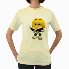 Book Smiley  Womens  T-shirt (Yellow)