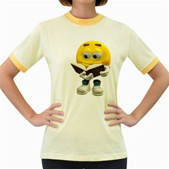 Book Smiley Womens  Ringer T-shirt (Colored)