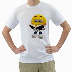 Book Smiley Mens  T Shirt (white)