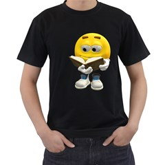 Book Smiley Mens' Two Sided T Shirt (black)