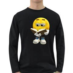 Book Smiley Mens' Long Sleeve T-shirt (Dark Colored)