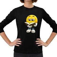 Book Smiley Womens' Long Sleeve T Shirt (dark Colored)
