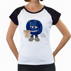 Beer Smiley Women s Cap Sleeve T-Shirt (White)