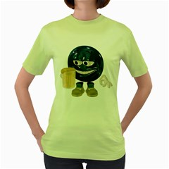 Beer Smiley Womens  T-shirt (Green)