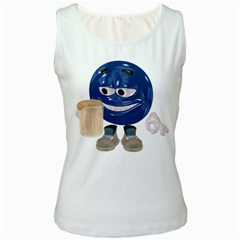 Beer Smiley Womens  Tank Top (White)