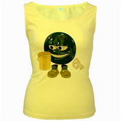 Beer Smiley Womens  Tank Top (Yellow)