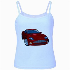 Red Sport Car 1 Baby Blue Spaghetti Tank