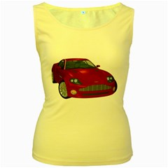 Red Sport Car 1 Womens  Tank Top (Yellow)