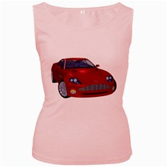 Red Sport Car 1 Womens  Tank Top (Pink)