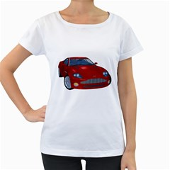 Red Sport Car 1 Womens' Maternity T-shirt (White)