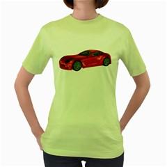 Red Sport Car 2 Womens  T Shirt (green)