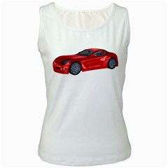 Red Sport Car 2 Womens  Tank Top (White)