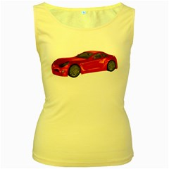 Red Sport Car 2 Womens  Tank Top (Yellow)