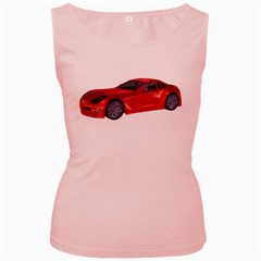 Red Sport Car 2 Womens  Tank Top (Pink)