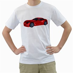 Red Sport Car 2 Mens  T-shirt (White)