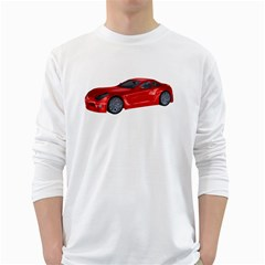 Red Sport Car 2 Mens' Long Sleeve T-shirt (White)