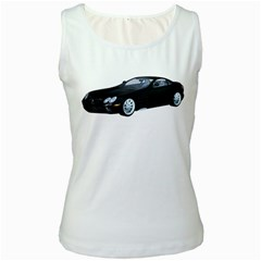 Black Sport Car Womens  Tank Top (White)