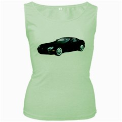 Black Sport Car Womens  Tank Top (green)