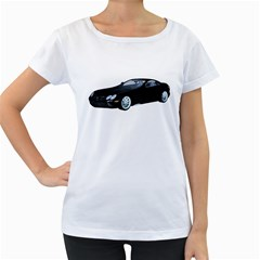 Black Sport Car Womens' Maternity T-shirt (White)