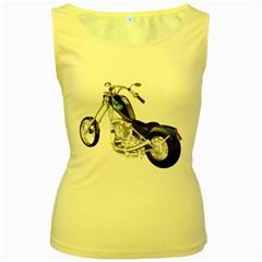 Motorbike Womens  Tank Top (Yellow)