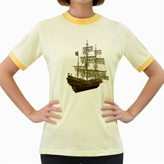 Pirate Ship 1 Womens  Ringer T Shirt (colored)