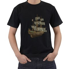 Pirate Ship 1 Mens' Two Sided T-shirt (Black)