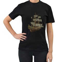 Pirate Ship 1 Womens' Two Sided T-shirt (Black)