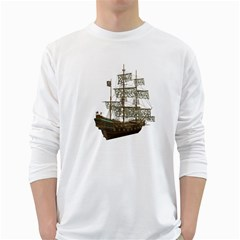 Pirate Ship 1 Mens' Long Sleeve T-shirt (White)