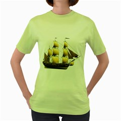 Ship 3 Womens  T-shirt (Green)