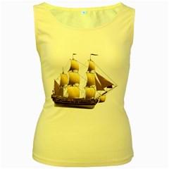 Ship 3 Womens  Tank Top (Yellow)