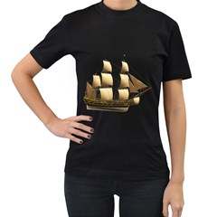 Ship 3 Womens' Two Sided T-shirt (Black)