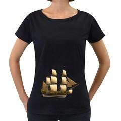 Ship 3 Womens' Maternity T-shirt (Black)