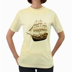 Ship 5  Womens  T-shirt (Yellow)