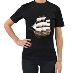 Ship 5 Womens' Two Sided T-shirt (Black)