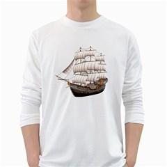 Ship 5 Mens' Long Sleeve T-shirt (White)