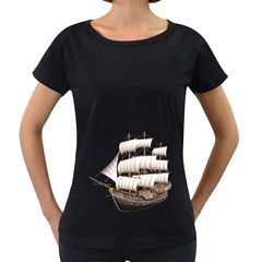 Ship 5 Womens' Maternity T-shirt (Black)