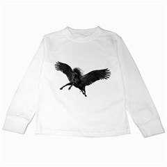 Black Pegasus Kids Long Sleeve T-Shirt