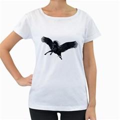 Black Pegasus Womens' Maternity T-shirt (White)