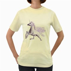 Purple Pegasus  Womens  T-shirt (Yellow)