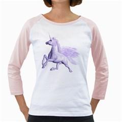 Purple Pegasus Womens  Long Sleeve Raglan T-shirt (White)