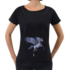 Flying Pony 1 Womens' Maternity T-shirt (Black)