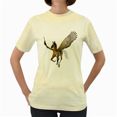 Flying Pony 2  Womens  T-shirt (Yellow)