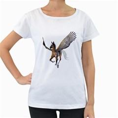 Flying Pony 2 Womens' Maternity T-shirt (White)