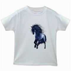 Blue Unicorn 1 Kids' T-shirt (White)