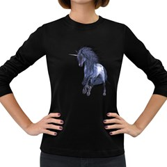 Blue Unicorn 1 Womens' Long Sleeve T Shirt (dark Colored)
