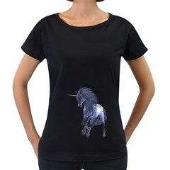 Blue Unicorn 1 Womens' Maternity T-shirt (Black)
